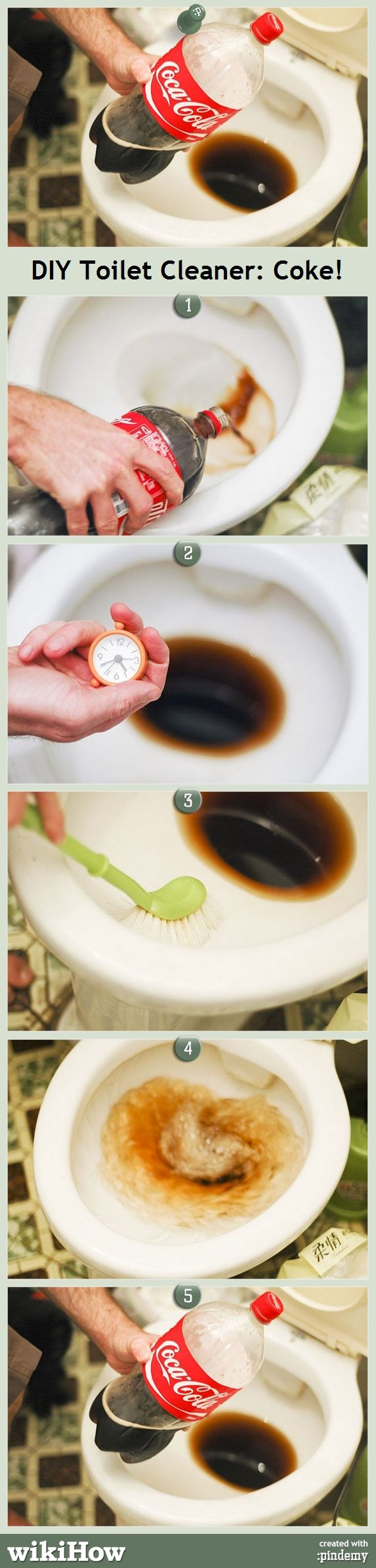 COKE AS A TOILET CLEANER! IT COULD REMOVE RUSTS TOO!
