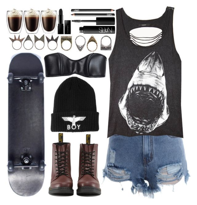"""""""Sem título #797"""" by opserica ❤ liked on Polyvore featuring Lisa Marie Fernandez, Forever 21, Dr. Martens, BOY London, NLY Accessories, Pull&Bear, NARS Cosmetics, Illamasqua and WALL"""