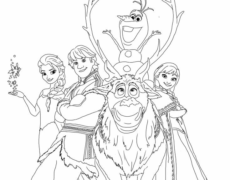 Coloring page of Frozen characters.