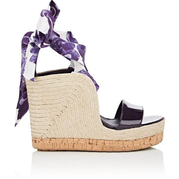 Salvatore Ferragamo Women's Patent Leather Wedge Espadrille Sandals ($795) ❤ liked on Polyvore featuring shoes, sandals, purple, espadrille sandals, high heel platform sandals, ankle strap high heel sandals, wedge sandals and espadrille wedge sandals