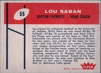 1960 Fleer #55 Lou Saban Back