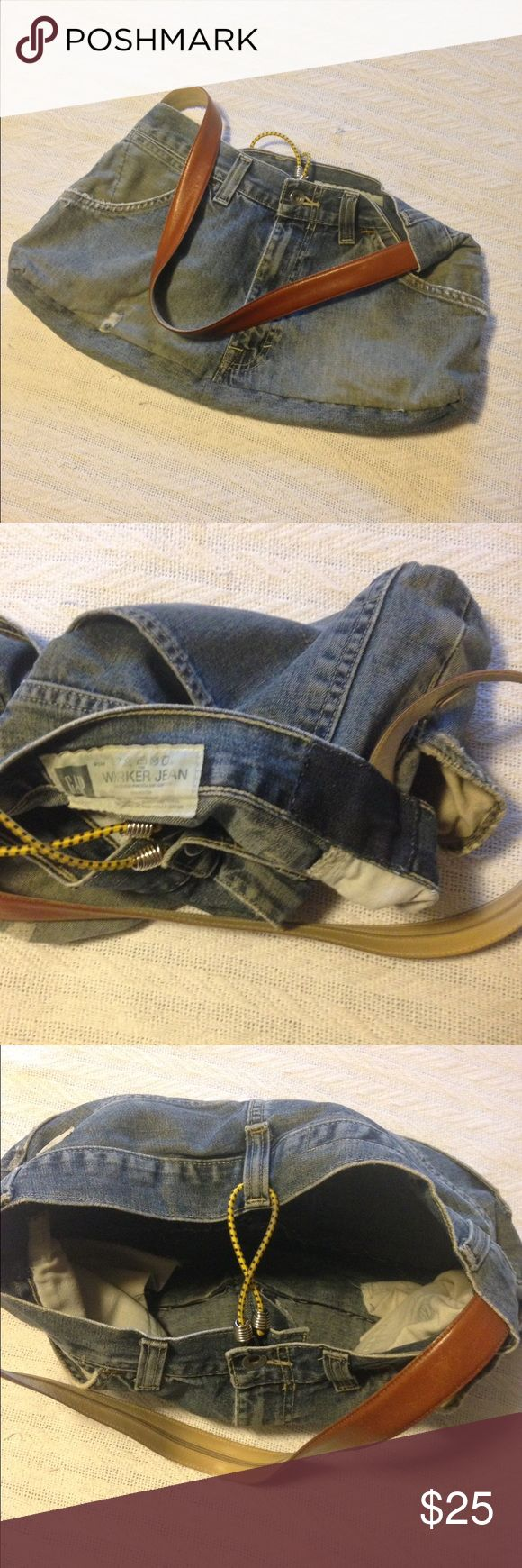 ✨Unique Denim Shoulder Bag✨ Handmade from distressed men's Gap jeans, small bungee and leather hidden zip belt. The Teal Bags Shoulder Bags