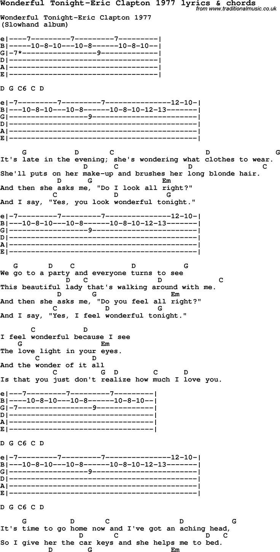 Love Song Lyrics for: Wonderful Tonight-Eric Clapton 1977 with chords for Ukulele, Guitar Banjo etc.