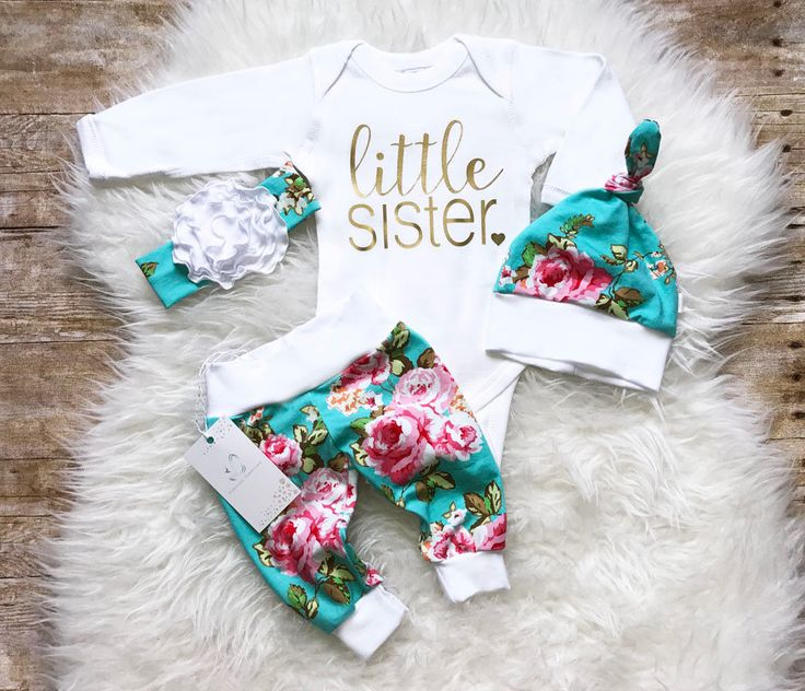 Baby Girl Coming Home Outfit  Newborn Girl Outfit  Little Sister Outfit Personalized Baby Outfit Floral Outfit  Baby Shower Gift Aqua Floral by LLPreciousCreations on Etsy https://www.etsy.com/listing/527691208/baby-girl-coming-home-outfit-newborn