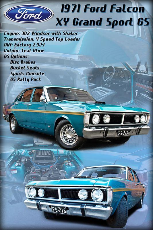 Ford Falcon XY Montage show board photo print