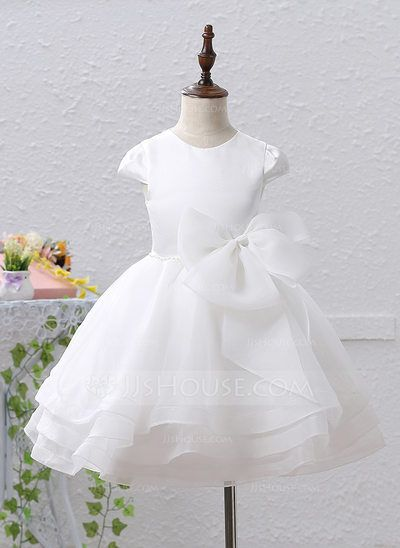 A-Line/Princess Scoop Neck Knee-length Beading Bow(s) Organza Satin Short Sleeves Flower Girl Dress Flower Girl Dress