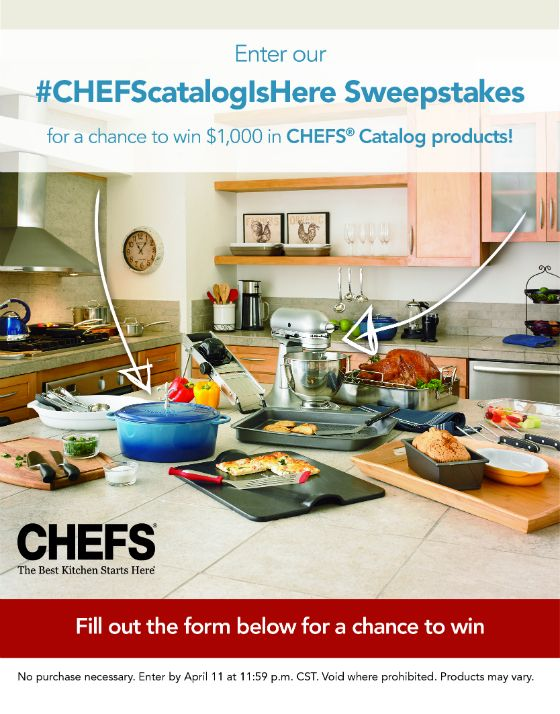 Enter the #CHEFScatalogIsHere Sweepstakes for your chance to win $1,000 in CHEFS Catalog Products!