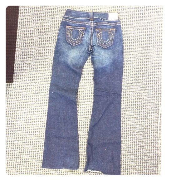 True Religion jeans. True Religions jeans. Emma style, size 28. These are just too small for me.  These were cut off on bottom and a small hem was put in, it will stay or can be easily undone. Thanks for looking! True Religion Jeans
