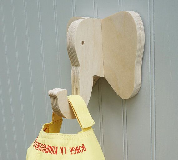 Elephant wall hook: playful plywood elephant head wall hanger for coats, towels, bags, hats, & backpacks - great for a safari nursery