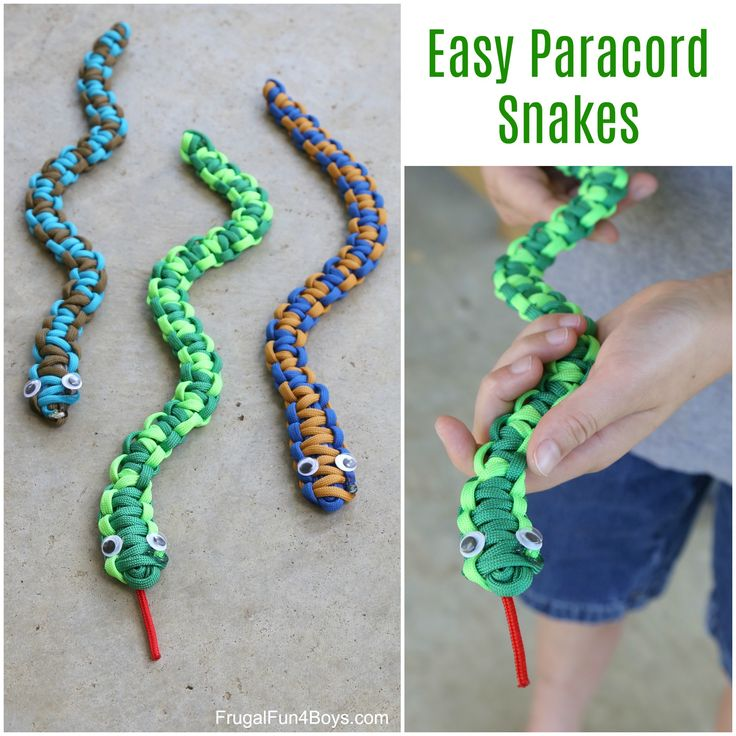 Here's a fun paracord project for kids – make paracord snakes! This would be a great craft project for a summer camp or nature club. Or make them on a rainy day! The completed snakes are fun to play with. This is an easy project for beginners. It may take a little while to learn …
