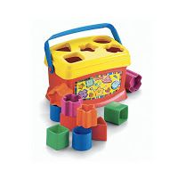 Fisher Price Brilliant Basics Baby's First Blocks. nexpensive learning and education early development toy for sorting and stacking. Learning & Education. Easy to touch, grasp and fit into the storage container. Excellent value. #babyblocks #baby