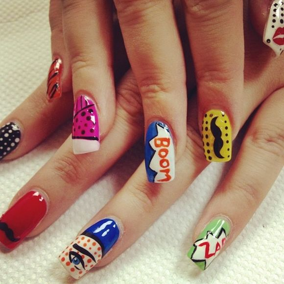 Best 25 comic book nails ideas on pinterest book nail art 55 comic book nail designs prinsesfo Image collections