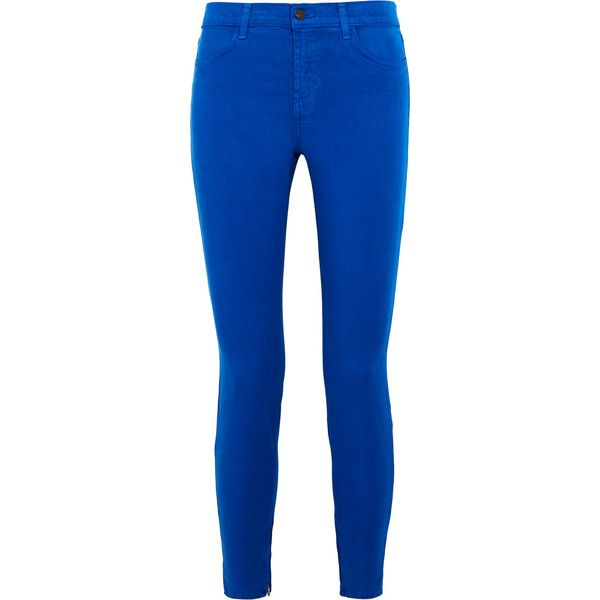 J Brand Mid-rise skinny jeans (150 CAD) ❤ liked on Polyvore featuring jeans, pants, bright blue, blue jeans, j brand, denim skinny jeans, button-fly jeans and skinny fit jeans