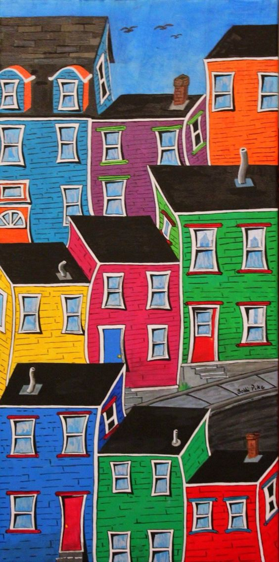 Jellybean Jumble by Bobbi Pike of Bobbi Pike Art. Many people ask how to find Jellybean Row, but the truth is, there is no street by that name. It is a generic nickname that refers to all rowhouses in the downtown area. This vibrant jumble of jellybeans is also a fictional place in NL Available at www.bobbipikeart/shop/jellybean-jumble/