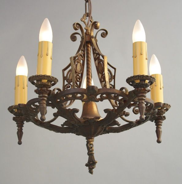 1920 39 s 5 light chandelier antique chandeliers antique for Spanish revival lighting
