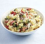 Creamy Rotini with Zucchini, Tomato, and Red Pepper