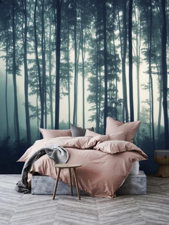 Misty Forest Wall Mural Removable Wallpaper Mural Forest Forest Wallpaper Peel And Stick Nature Forest Murals For Wall Mural Tree 64 Forest Wall Mural Temporary Wallpaper Forest Wallpaper