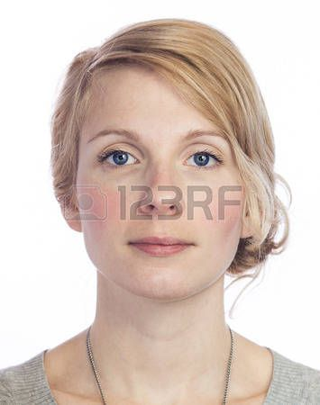 Mugshort Красивая женщина без выражения лица, изолированных на белом photo