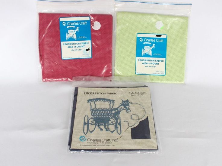 Lot counted cross stitch fabric aida 14 count red green for Charles craft cross stitch fabric