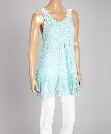 Another great find on #zulily! Aqua Crochet & Lace Linen-Blend Tunic #zulilyfinds =