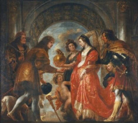 """Pana in secolul XIII-XIV, inelelor nu le-a fost asociata in mod explicit latura simbolica a uniunii in cuplu, iar prima insemnare documentata a oferirii unui inel de logodna se produce de abia in 1477, cand Arhiducele Maximilian al Austriei ii ofera Ducesei Mary a Burgundiei, primul inel cu diamante dispuse in forma literei """"M"""" (diamantele nu erau slefuite si aveau o forma usor piramidala, arta finisarii pretioaselor pietre dezvoltandu-se de abia ulterior)."""