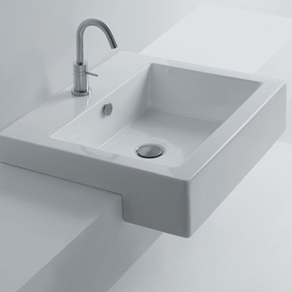 Shop Ws Bath Collections Hox 48s Ws03801f Whitestone Semi Recessed Bathroom Sink At The Mine