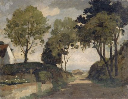 "Oil painting from the Fine Art collection. ""Mill Lane, Harting"" by William Gunning King, showing a country lane with trees on either side looking to a thatched barn in the distance. 1937."