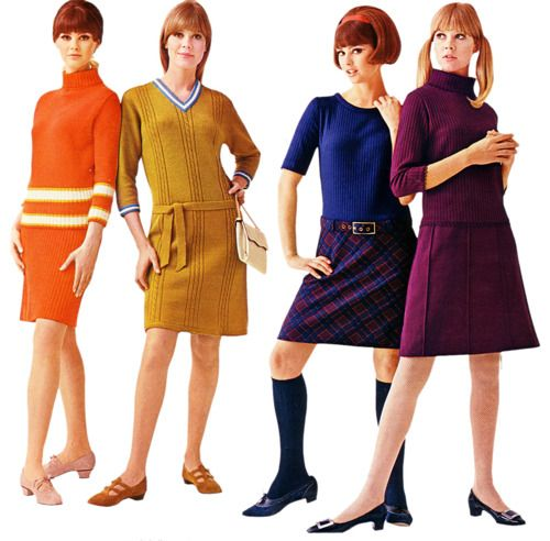 1960's-clothes I wore in high school. No pants for girls were allowed.