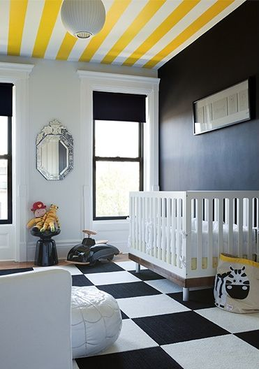 Gorgeous Yellow And Black Nursery With A Dramatic White