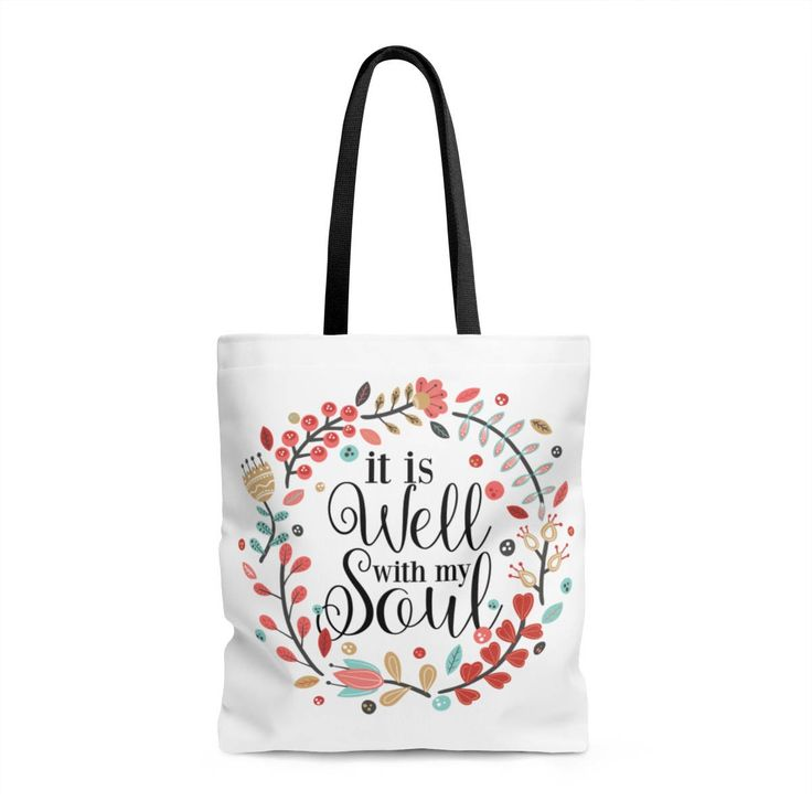 It Is Well With My Soul - Tote Bag, canvas bag, unique gift under 20, printed tote bag, Faith, floral Scripture