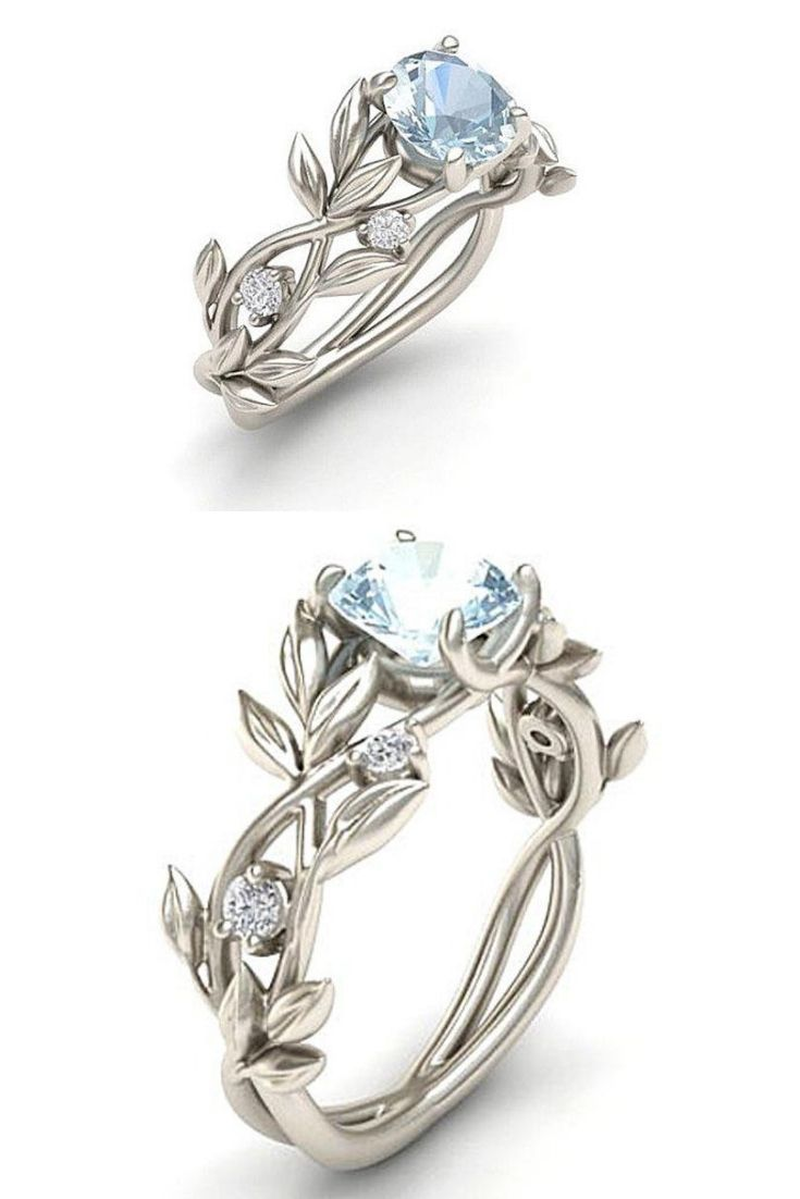 Vine Leaf Crystal Flower Vintage Ring Vintage Engagement Rings