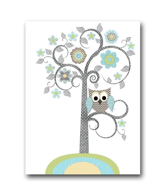 Blue Grey Green Yellow Owl Elephant Giraffe Decor by artbynataera