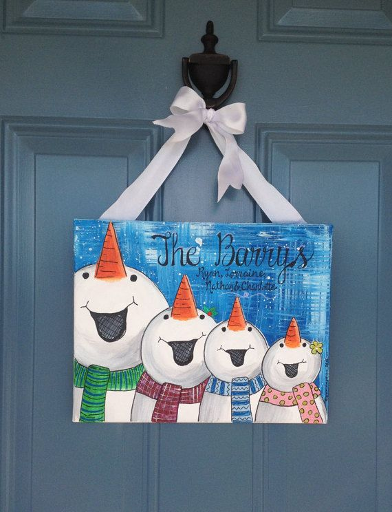 Family Sign Personalized Family Art Snowman by theRedheadedArtist