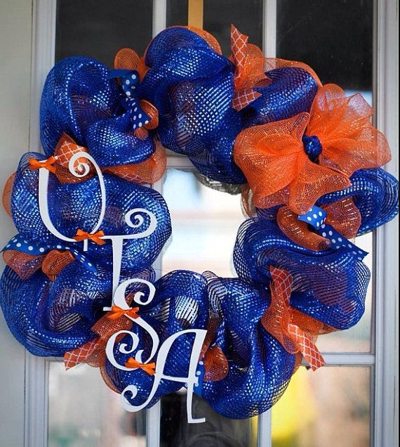 UTSA Roadrunners Deco Mesh Wreath Made To Order On Etsy 5000 Facebook