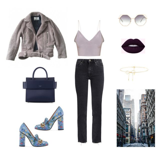 Moon by alena-mr on Polyvore featuring polyvore fashion style Acne Studios M.i.h Jeans Gucci Givenchy Lilou clothing