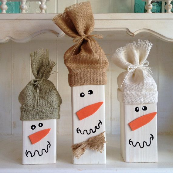 This adorable set of three snowmen is made from 4x4 Douglas Fir wood posts. They are painted white and come in varying heights of 6, 8 and 10. These