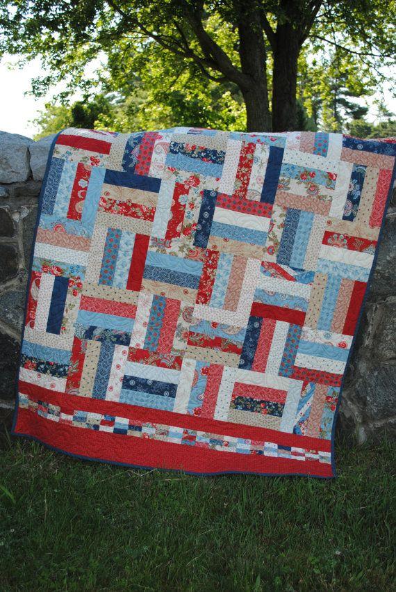 Rot weiß und blau Patchwork Quilt, Schoß QUILT oder Twin Tagesdecke, patriotische,.. .pattern auch zum Verkauf