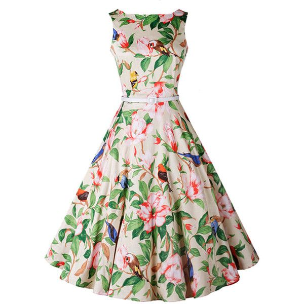 Captivating Boat Neck Belt Bird Floral Printed Skater Dress ($36) ❤ liked on Polyvore featuring dresses, white floral dress, white skater dress, cotton dress, white cotton dress and floral printed dress