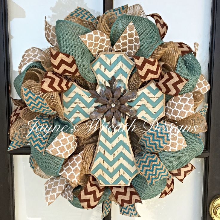 Burlap Wreath with Cross - great for all year - by Jayne's Wreath Designs on fb and IG