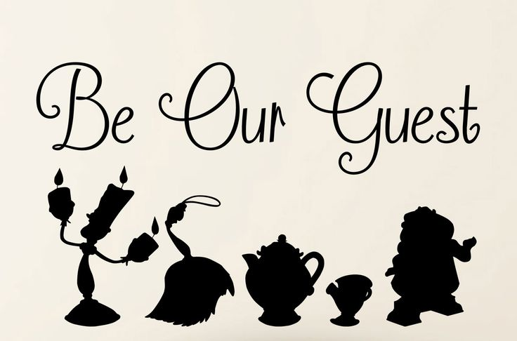 Be our Guest Beauty and the Beast wall Decal Quote and Silhouette Vinyl Wall Decal Art by TannersCreekDesigns on Etsy https://www.etsy.com/listing/218208395/be-our-guest-beauty-and-the-beast-wall