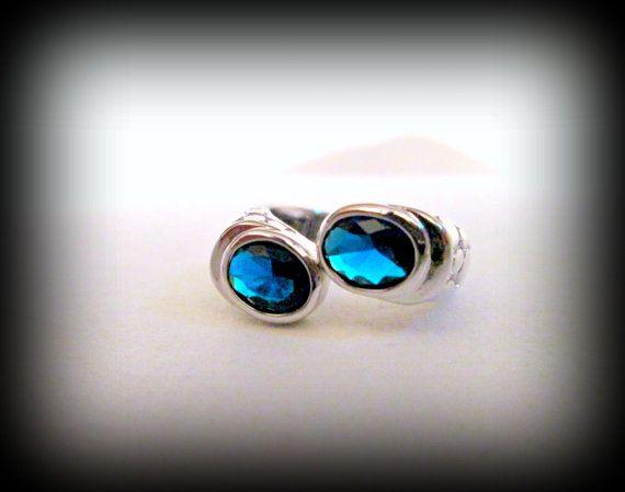 Blue topaz ring-platinum plated ring-semi precious by presents4u