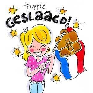 Jippie Geslaagd! (vlag met tas) - Blond Amsterdam