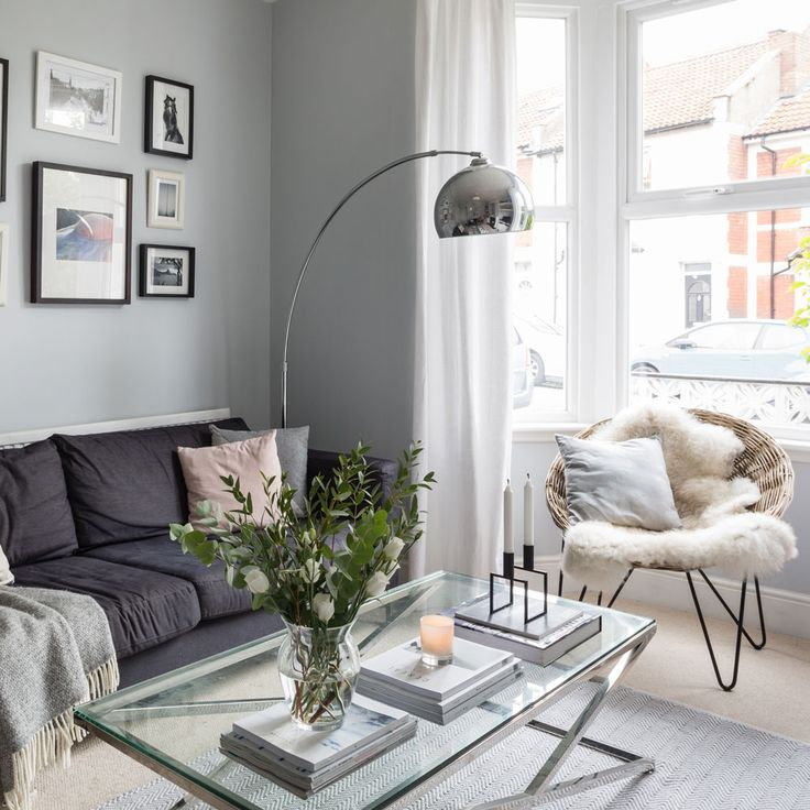 Love Scandi style? Then check out this grey living room with all the classic ingredients of a successful Scandi scheme. A cool arc lamp enhances the look