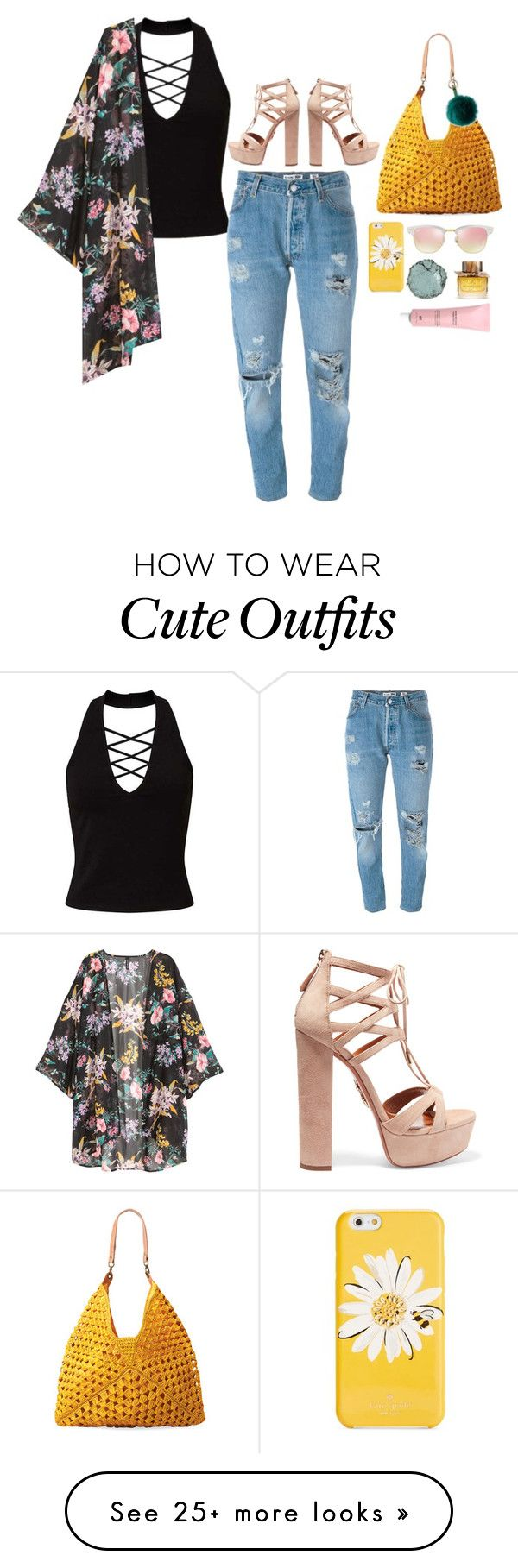 """Cute Summer Style Outfit"" by darling16 on Polyvore featuring Miss Selfridge, Levi's, Aquazzura, Mar y Sol, Kate Spade, Ray-Ban, RAJ, Chantecaille and Burberry"