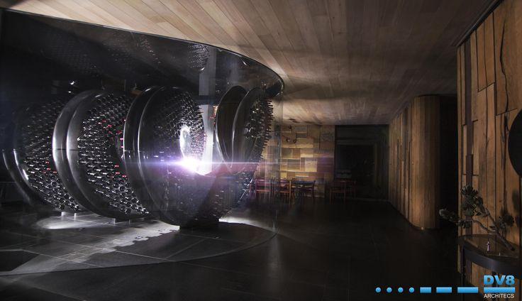 Ellerman House Wine Gallery. Sunlight creeps in behind carbon fibre wine rack by Steinhobel design.
