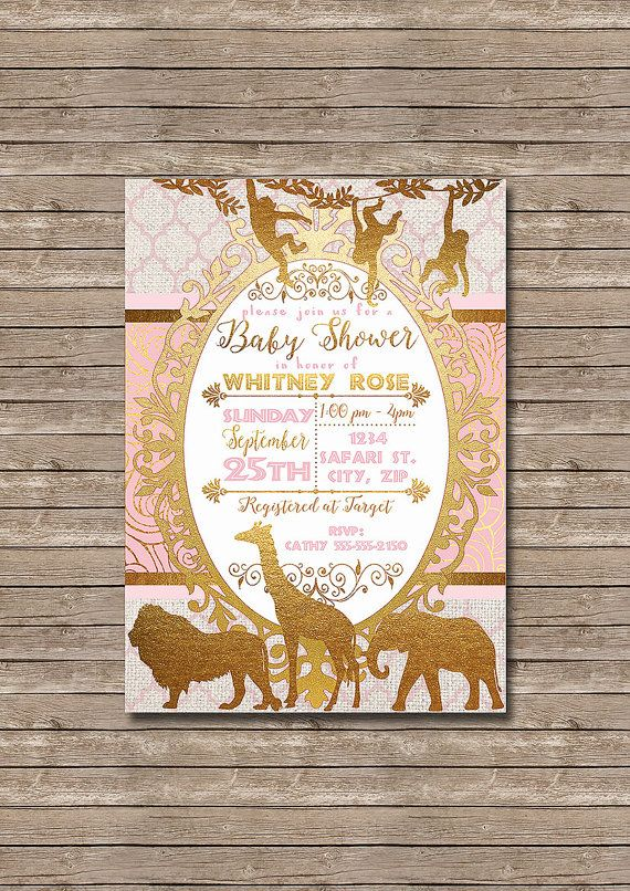 Golden Safari - Pink and Gold African Animals Baby Shower Printable Party…