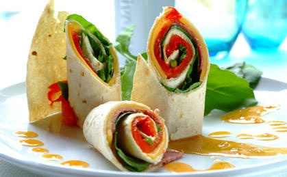 Yummy beef, rocket and roasted red peppers wrapped snuggly in tortilla wraps