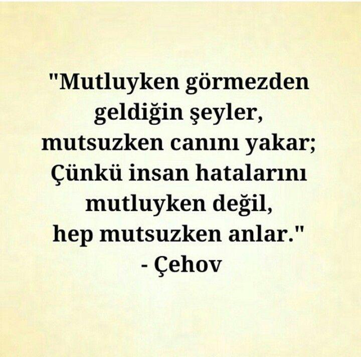 Mutluyken görmezden geldiğin şeyler, mutsuzken canını yakar; Çünkü insan hatalarını mutluyken değil, hep mutsuzken anlar.   - Anton Çehov