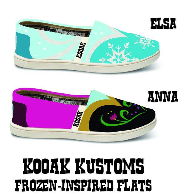 KOOAK Kustoms Disney FrozenInspired Toms Flats by KammysOneOfAKind, $150.00