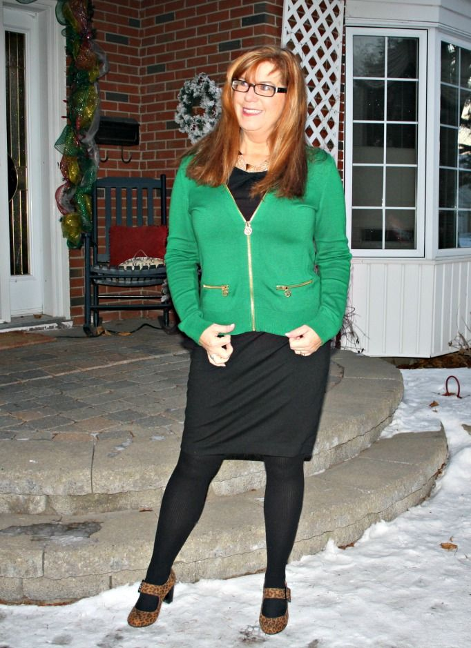 Emerald City Michael Kors emerald cardigan and LBD from Target.  leopard shoes